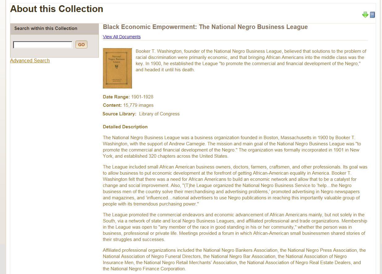 Gale Black Economic Empowerment: The National Negro Business League