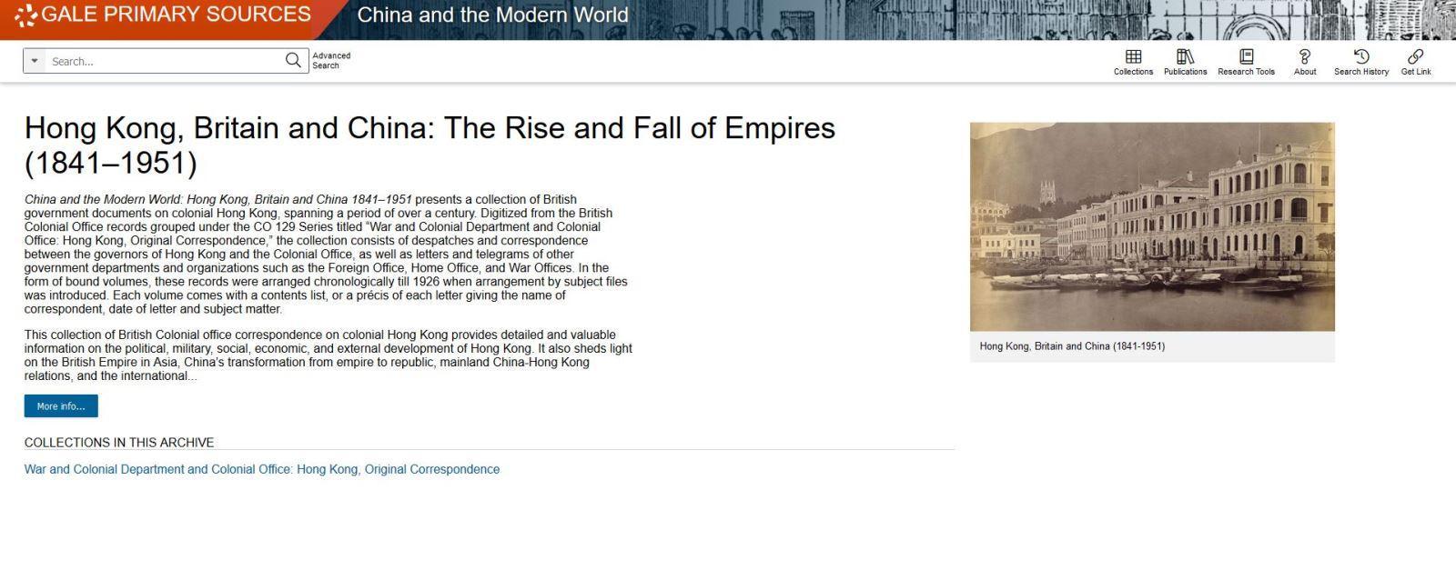 China and the Modern World :Hong Kong, Britain and China 1841-1951