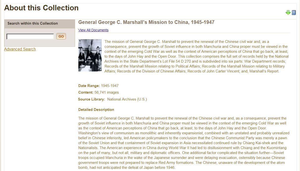 General George C. Marshall's Mission to China, 1945-1947