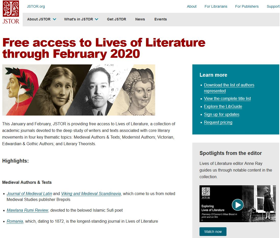 JSTOR - Lives of Literature Collection
