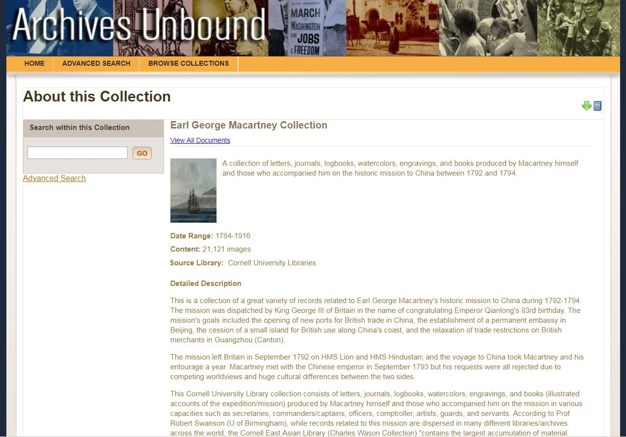 The Earl George Macartney Collection