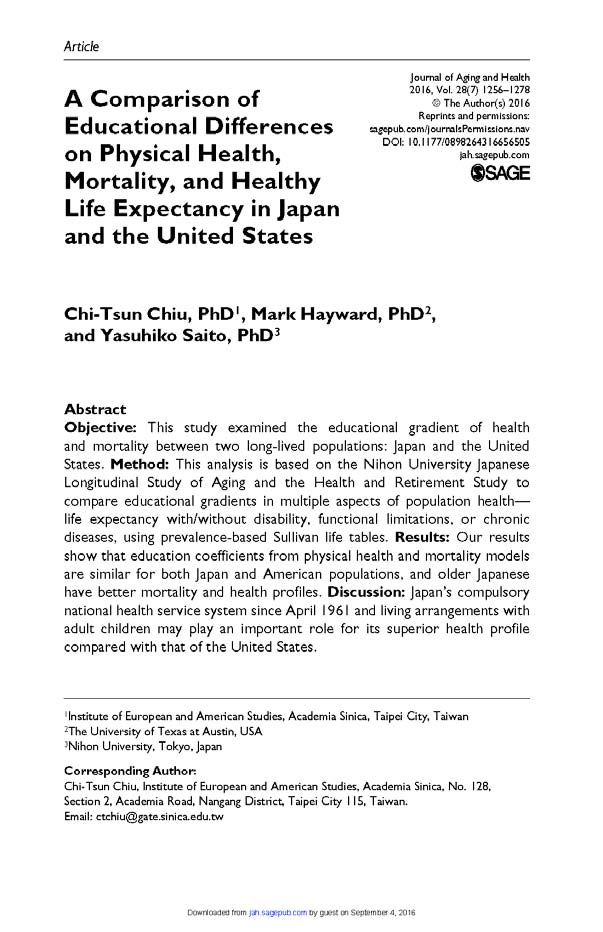 A Comparison of Educational Differences on Physical Health, Mortality and Healthy Life Expectancy in Japan and the United States.