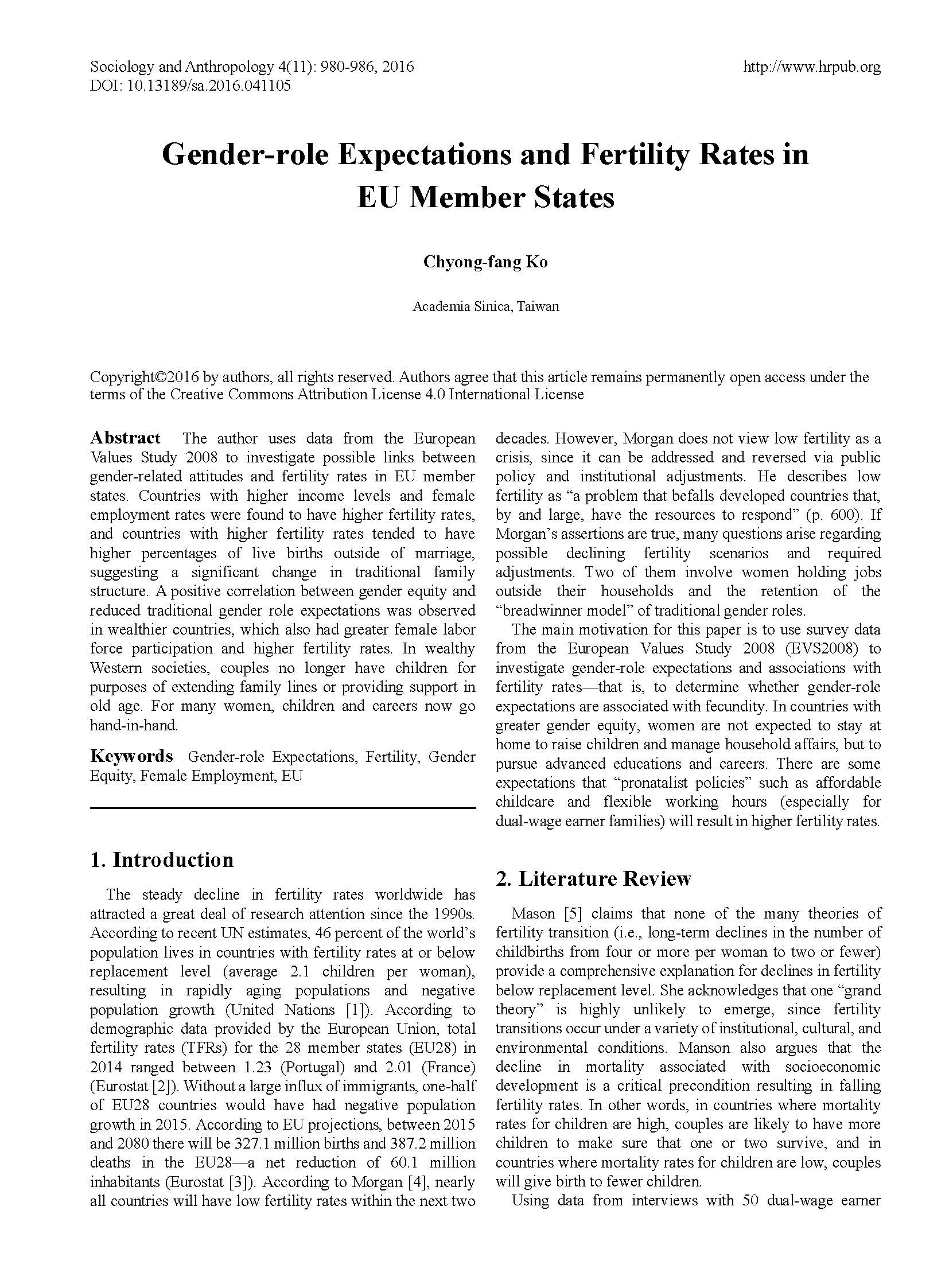 Gender-role Expectations and Fertility Rates in EU Member States