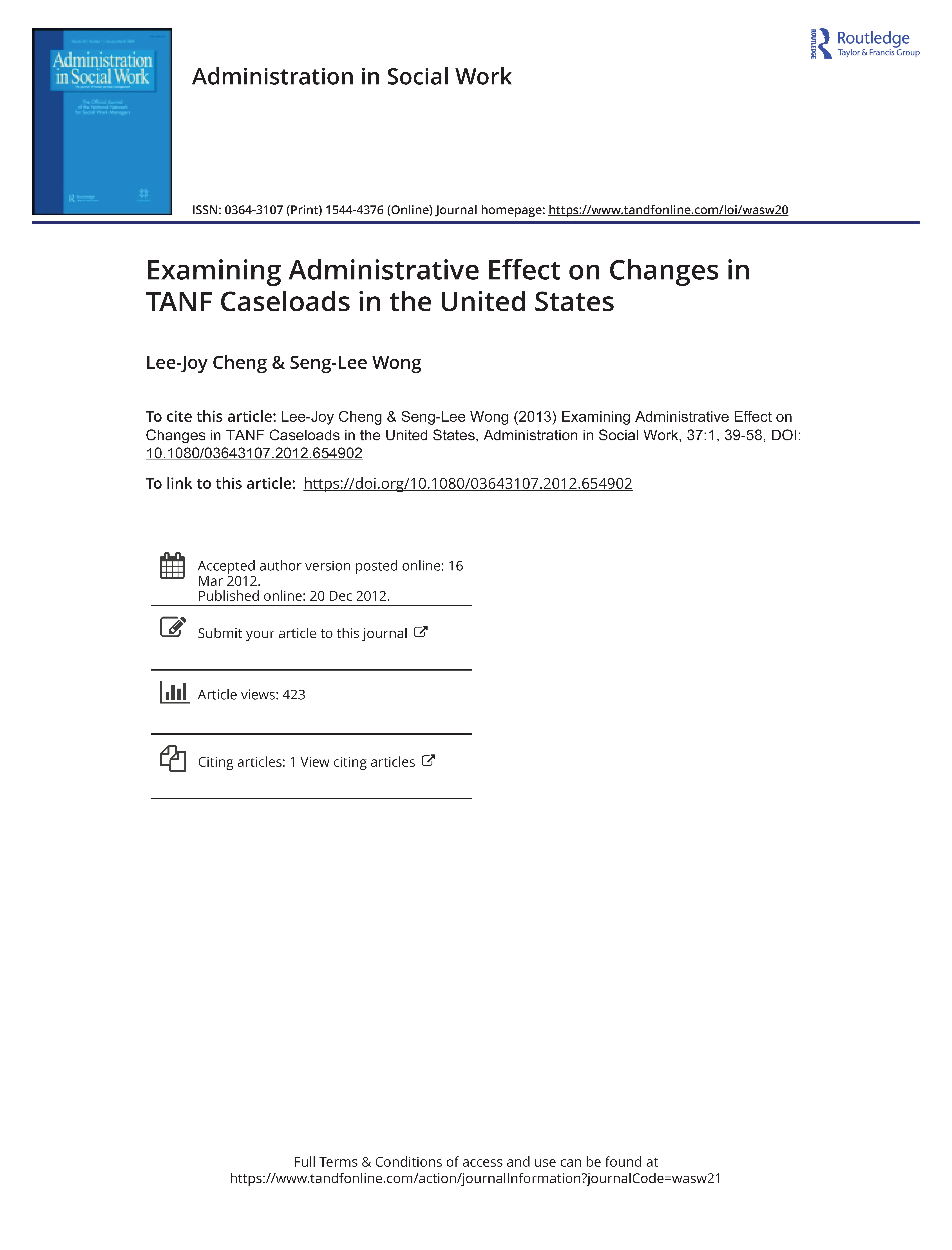 Examining Administrative Effect on Changes in TANF Caseloads in the United States