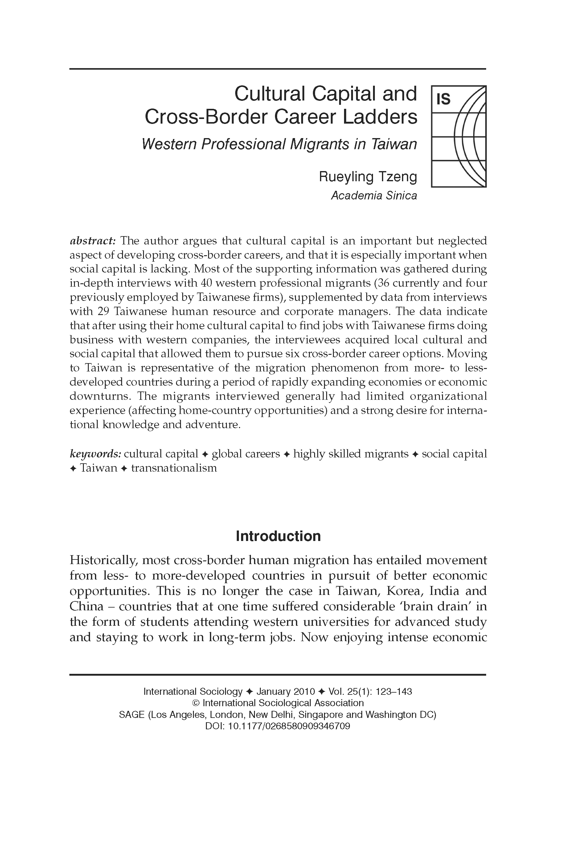 Cultural Capital and Cross-Border Career Ladders: Western Professional Migrants in Taiwan